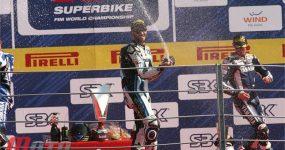 Michel Fabrizio na podium w wyścigu na torze Monza